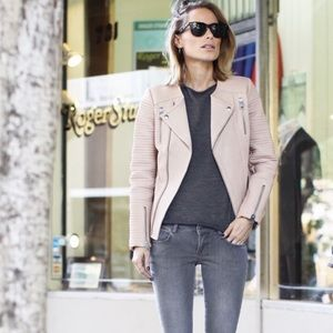 Anine Bing Classic Quilted Leather Jacket in Nude